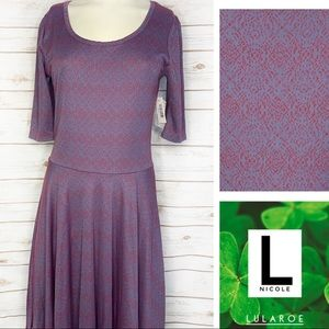 L Nicole purple and red print dress